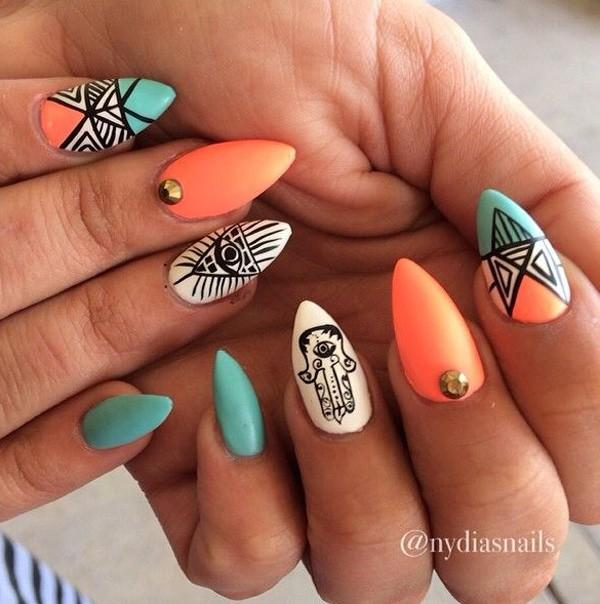 65 lovely summer nail art ideas art and design be bold and creative with this tribal inspired stiletto nails coated with blue and orange prinsesfo Gallery