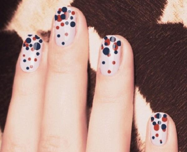 uneven-polka dots nails - 30 Adorable Polka Dots Nail Designs  <3 <3