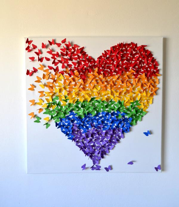 3D Butterfly Wall Art in Rainbow Colors, Rainbow Theme Decor for Nursery Kid's Room, Modern Nursery Ar