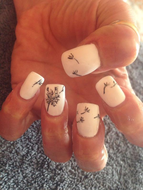 Acrylic Nails With Dandelion Nail Art