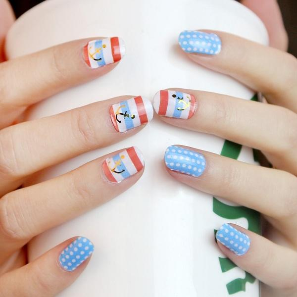 Anchor polka dots nail art polish ... - 30+ Adorable Polka Dots Nail Designs Art And Design