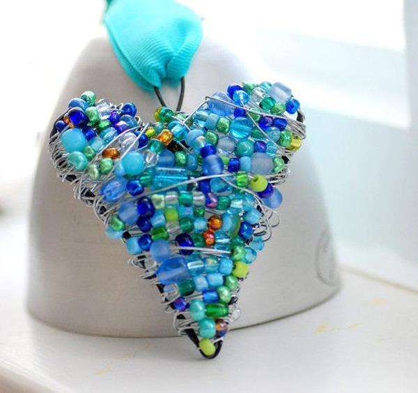 Beaded Wire Heart, Blue and Green Wire Wrapped Ornament