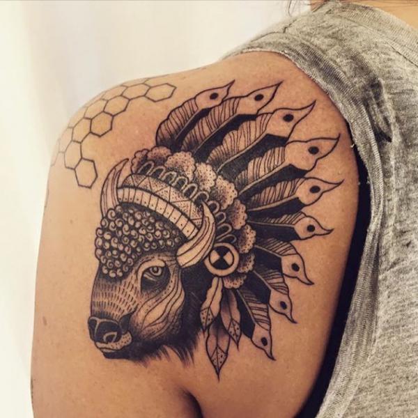 Bison tattoo on shoulder