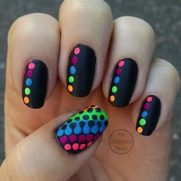 Black Rainbow Polka Dot Nails - 30 Adorable Polka Dots Nail Designs  <3 <3