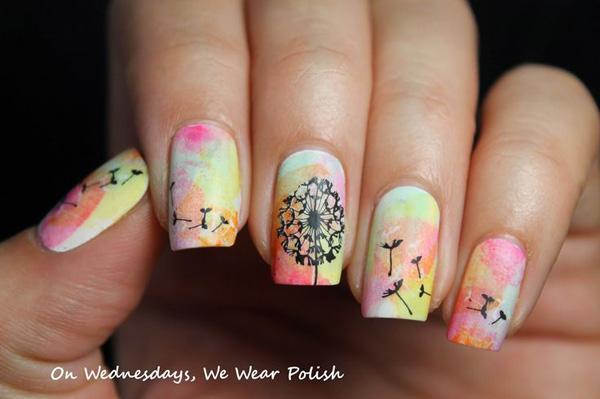 Dandelion Water Color Nail Art