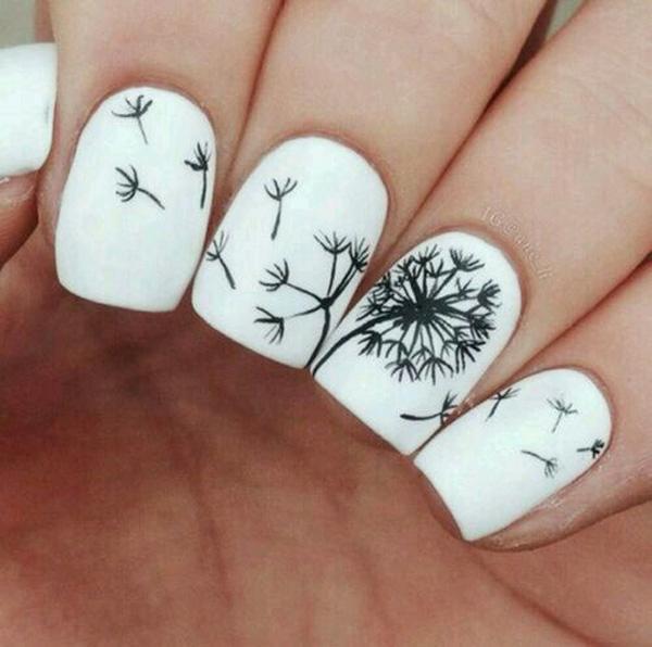 Dandelion nail art-1