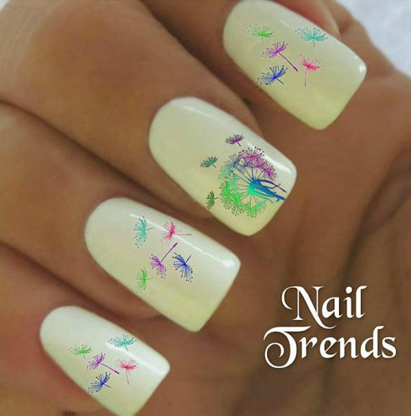 30 dandelion nail art designs art and design start off with a white base color for this creative and multi colored dandelion nail art prinsesfo Choice Image