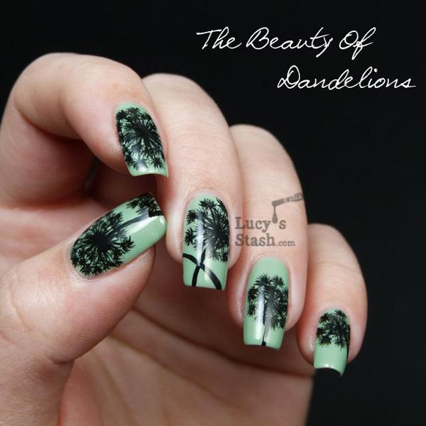 30 dandelion nail art designs art and design be bold and strong with a sea green base color for your dandelion inspired nail art prinsesfo Gallery