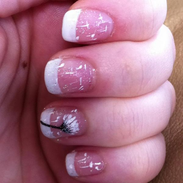 30 dandelion nail art designs art and design try incorporating your french tip with a beautiful dandelion nail art and this is what you prinsesfo Choice Image