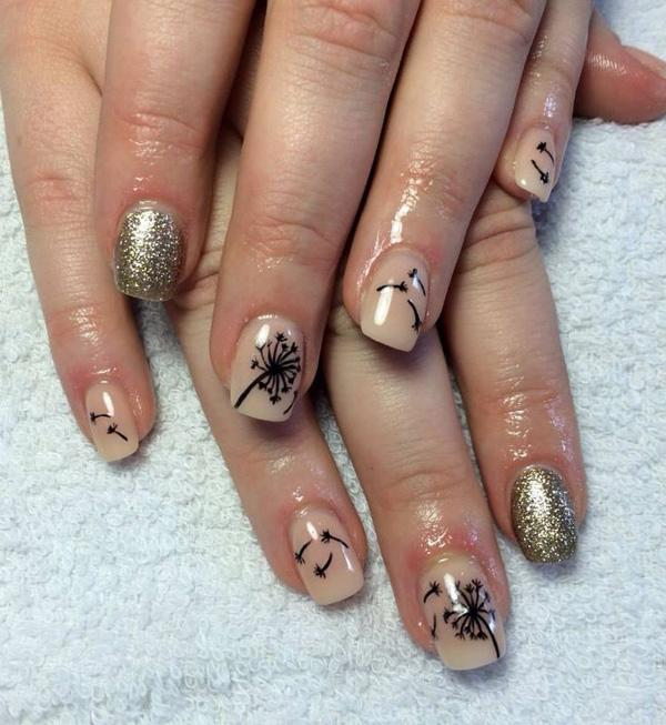30 dandelion nail art designs art and design take a look at this glamorous combination of glitter gold and nude matte colors for the prinsesfo Choice Image