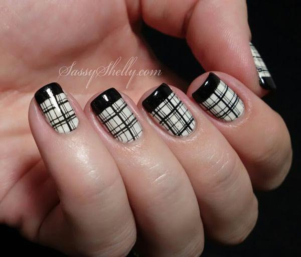 French Tips & Plaid Nail