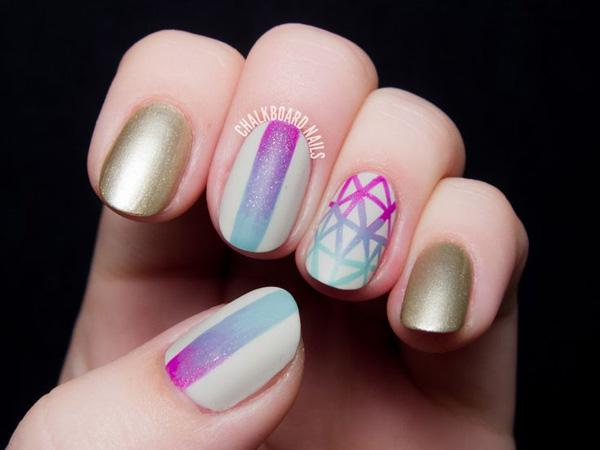 40 fabulous gradient nail art designs art and design geometric gradient nail art 40 fabulous gradient nail art designs prinsesfo Image collections