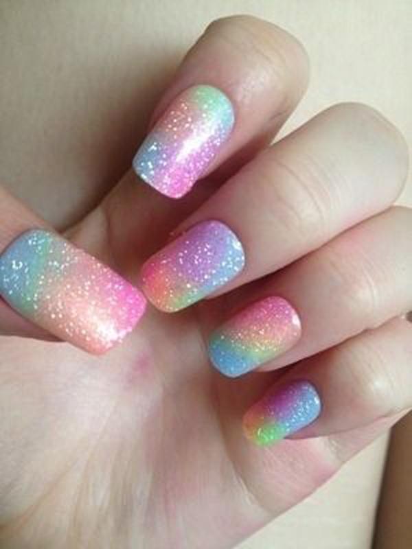 Glitter Ombre Rainbow Nail Art Designs