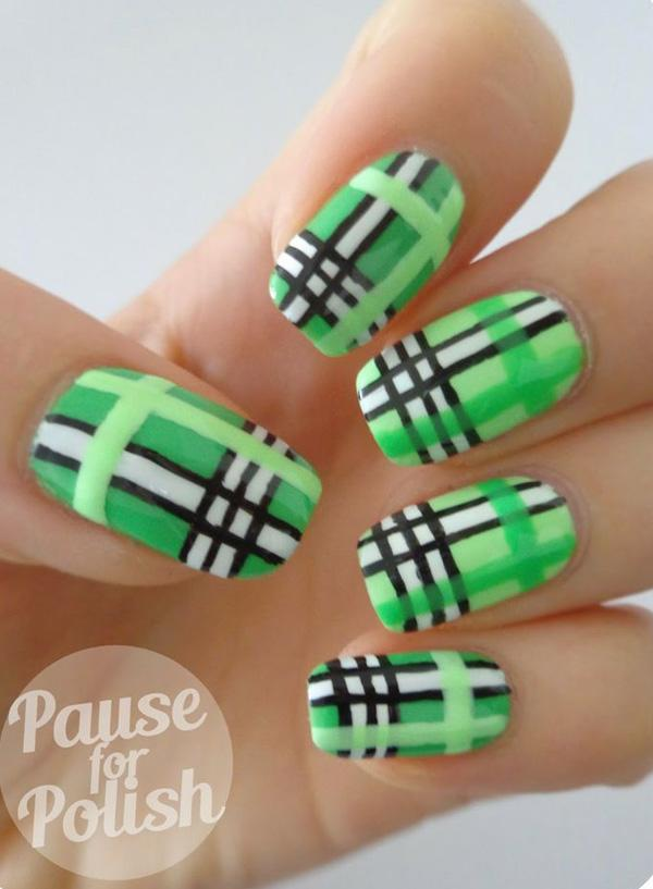 Green Plaid  Nail Art