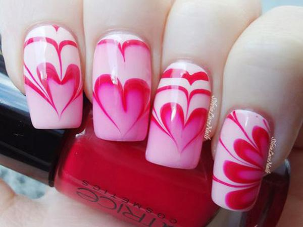 Heart Water Marble Nail Art