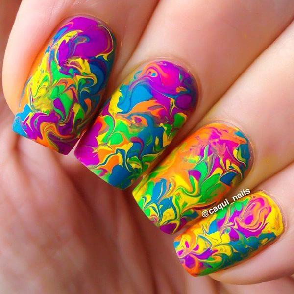 Hot Water Marble Nail Art-5