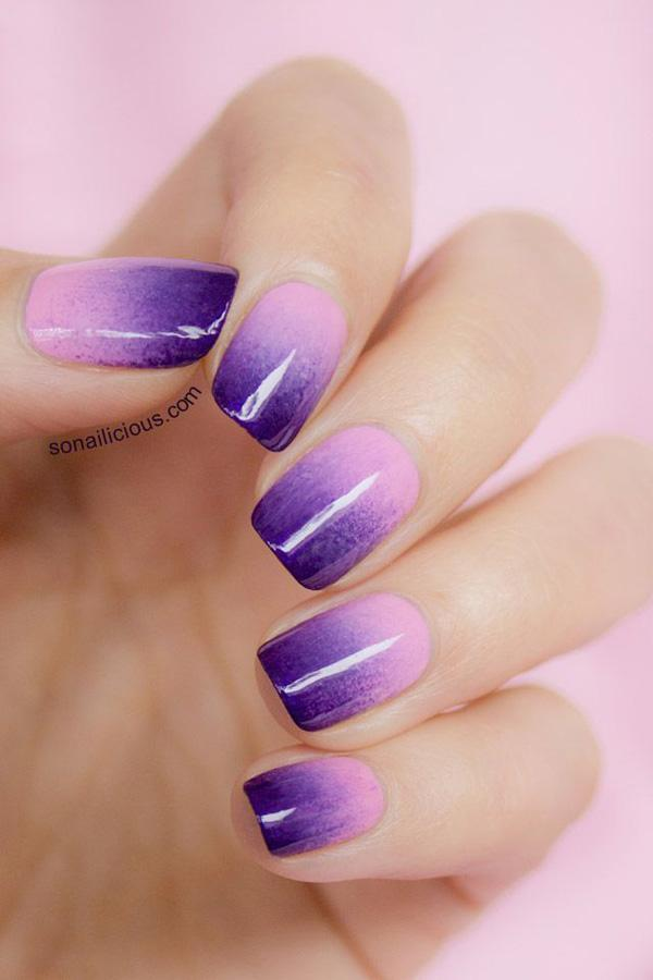 Lilac to purple ombre nails