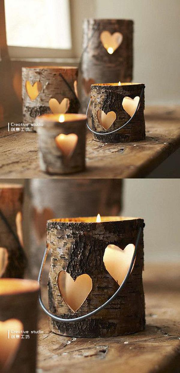 Love the hollowed out pieces of log for candle holders