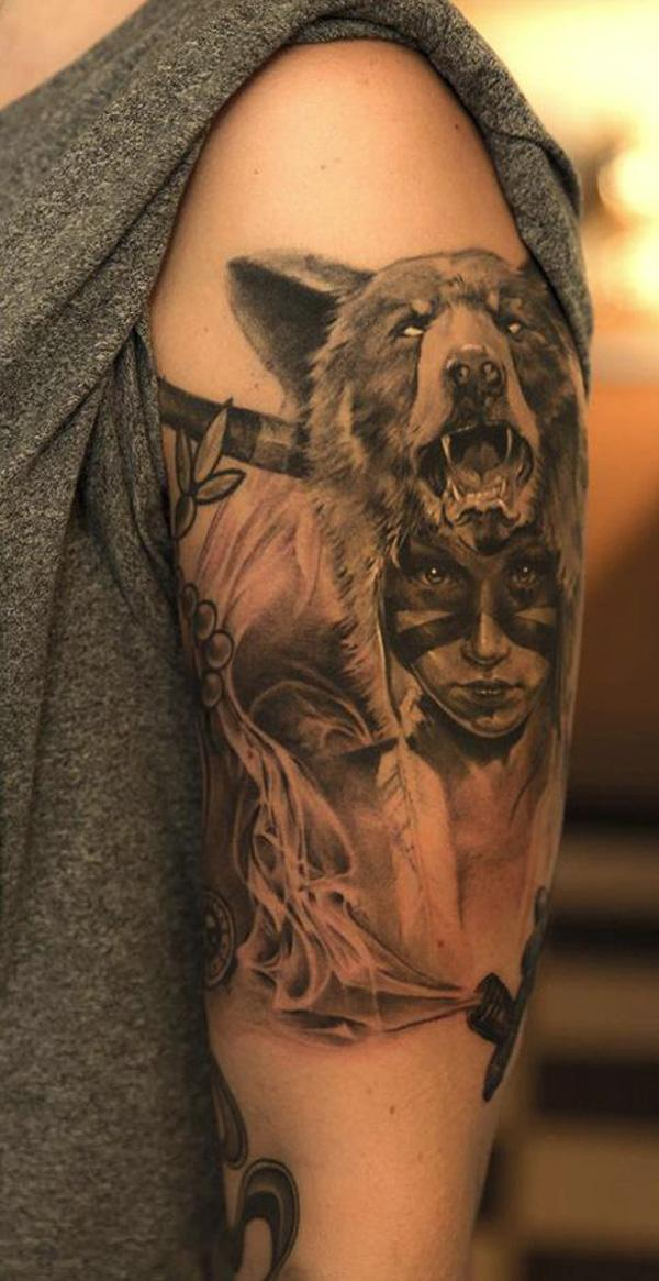 Native American Tattoo - realistic Indian girl wearing a wolf headdress