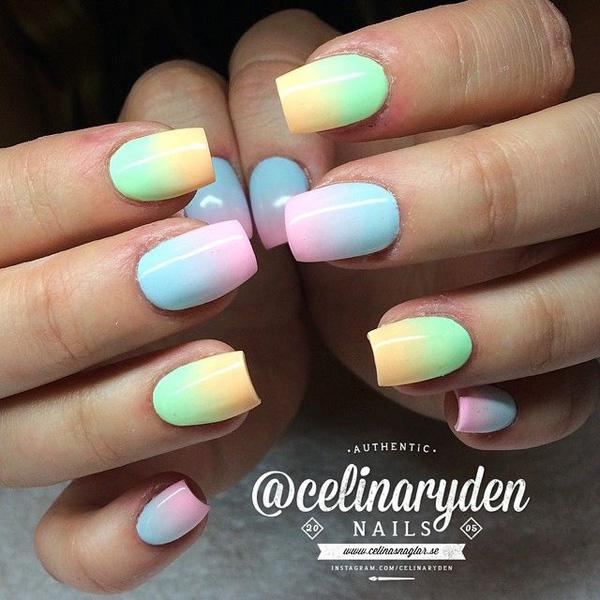 Clean Looking Gradient Nail Art With Color Combinations Of Green Yellow Blue And Pink