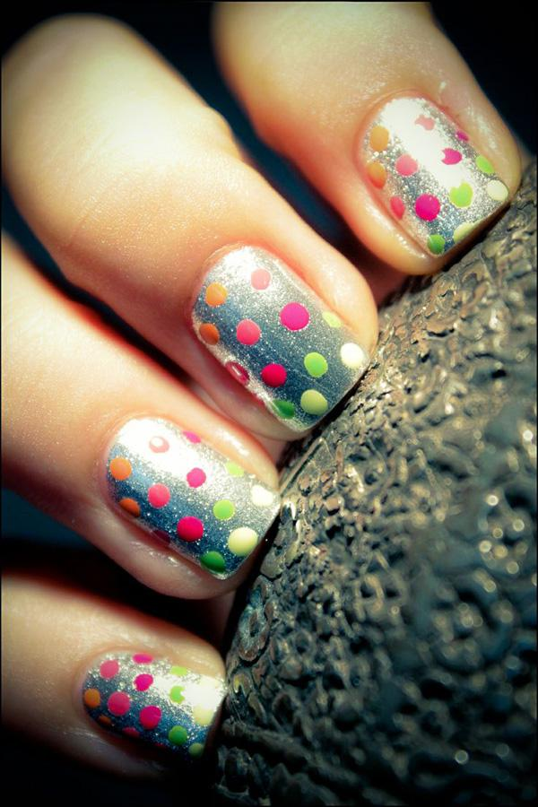 Neon polka dot nails on silver gradient