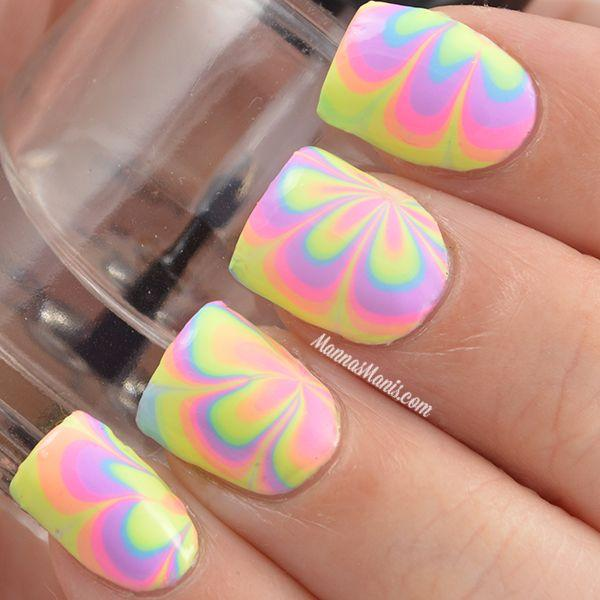 35 Water Marble Nail Art Designs | Art and Design