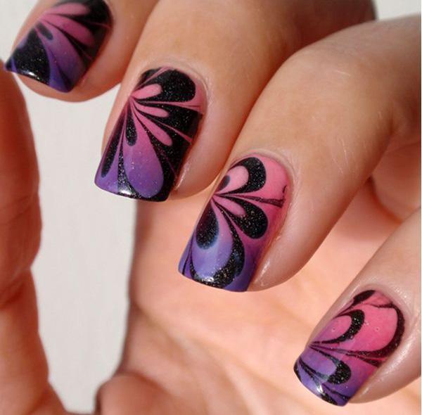 Petal Water Marble Nail Art-30