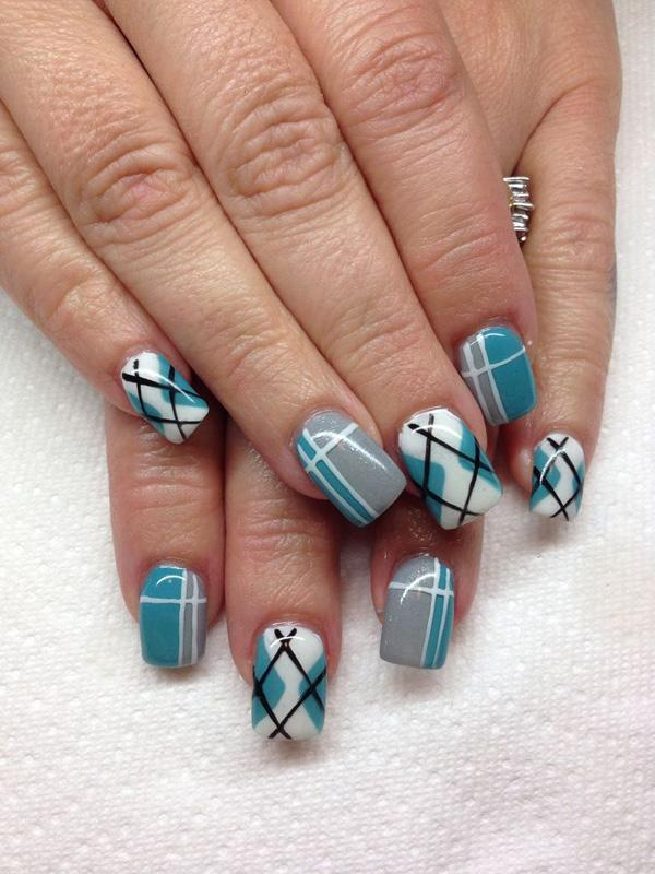 35 gingham and plaid nail art designs art and design a cute and quirky looking plaid nails art design the fresh color combination of white prinsesfo Choice Image