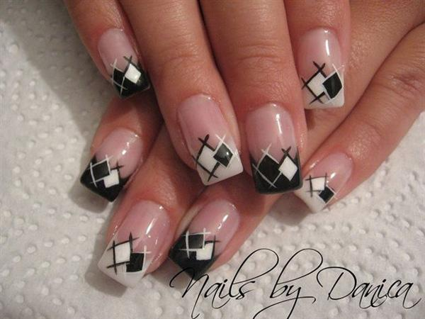 35 gingham and plaid nail art designs art and design a white and black combination of gingham inspired french tips the white and black colors prinsesfo Choice Image