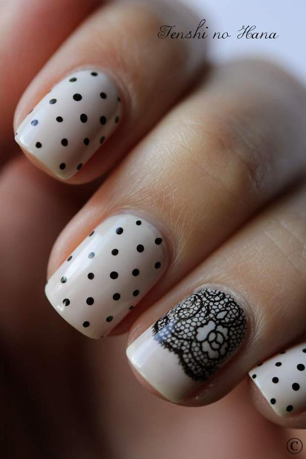 Polka Dot and Lace Nails - 30 Adorable Polka Dots Nail Designs  <3 <3