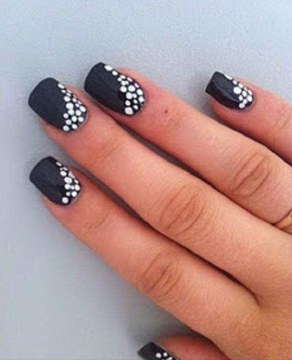 Polka dots at corners of nails
