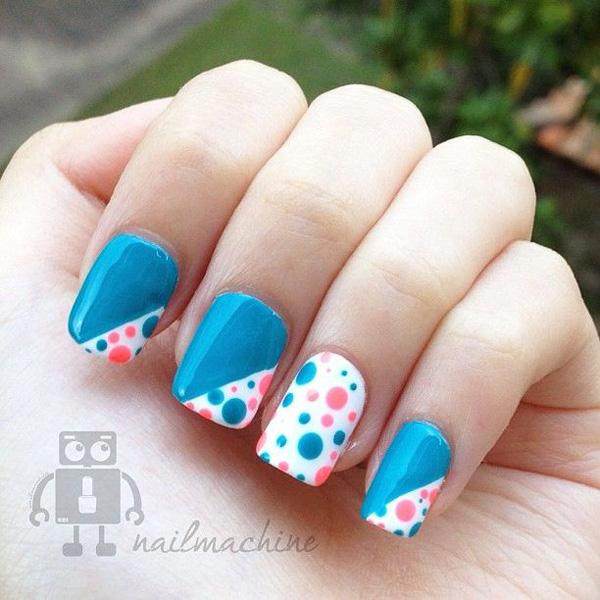 Polka dots nail art design How cute