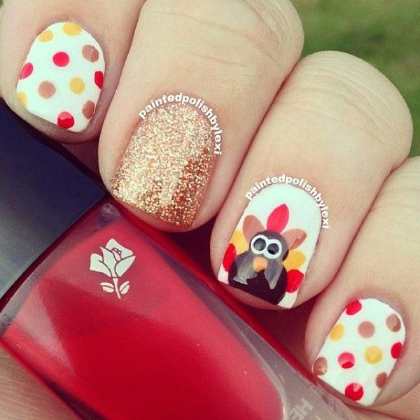 Polka dots nail art for thanksgiving600
