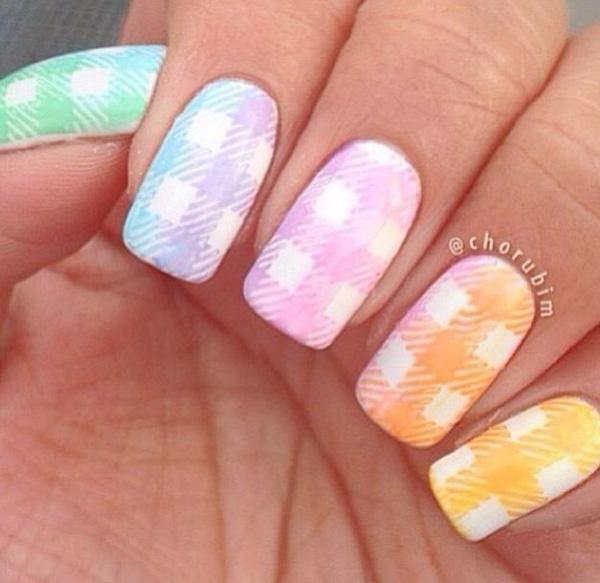 Rainbow Gingham  Nails