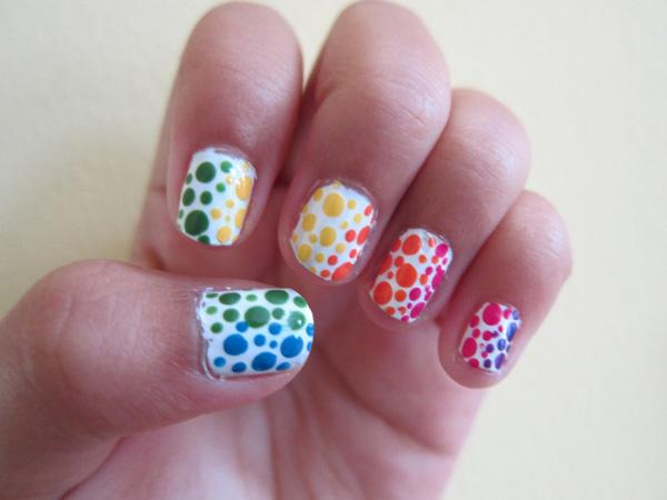 Rainbow Polka Dot Nails