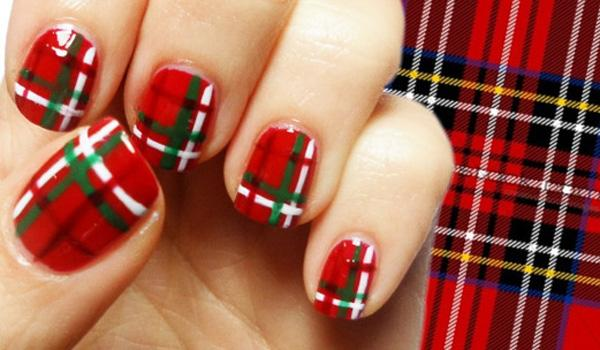 Red Plaid nail