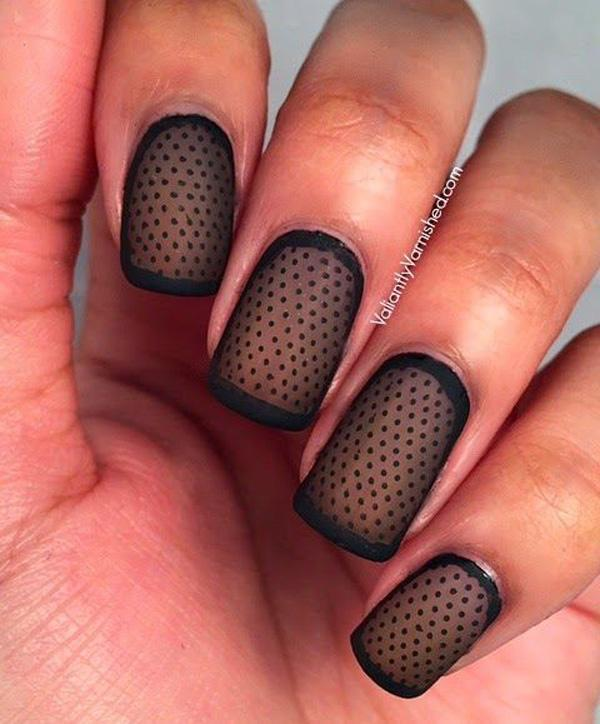 Sheer Matte Polka Dot Nail Art