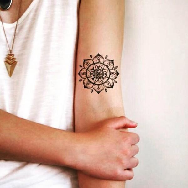 Small mandala sleeve tattoo for women
