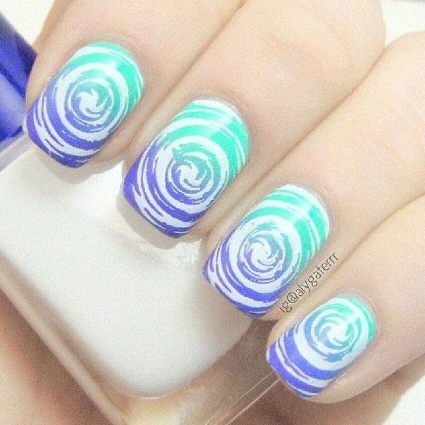 35 water marble nail art designs art and design this water marble nail art design is very creative in making white swirling patterns on top prinsesfo Gallery