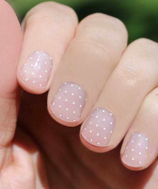 Swiss dots on nude nail background600