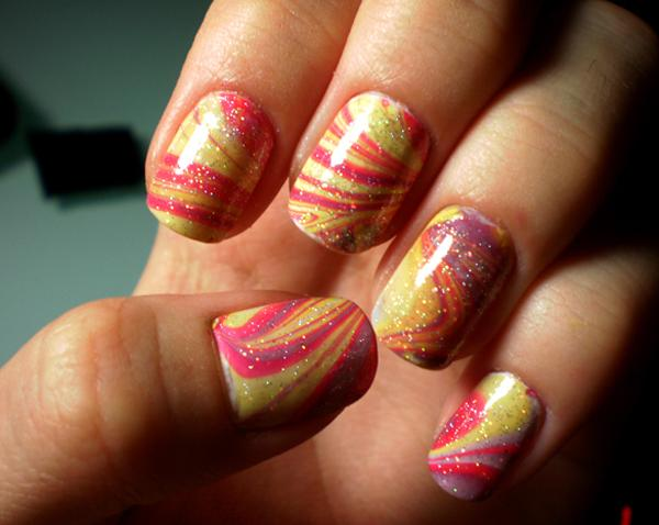 35 water marble nail art designs art and design give life to your nails with a combination of yellow violet and red polishes created prinsesfo Choice Image