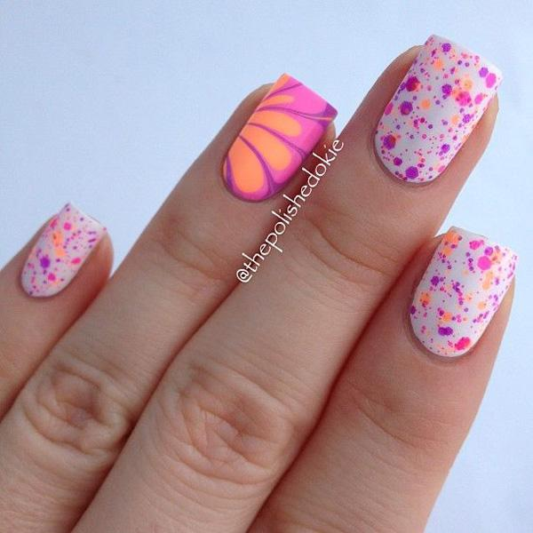 Water marble petals with glitter polish