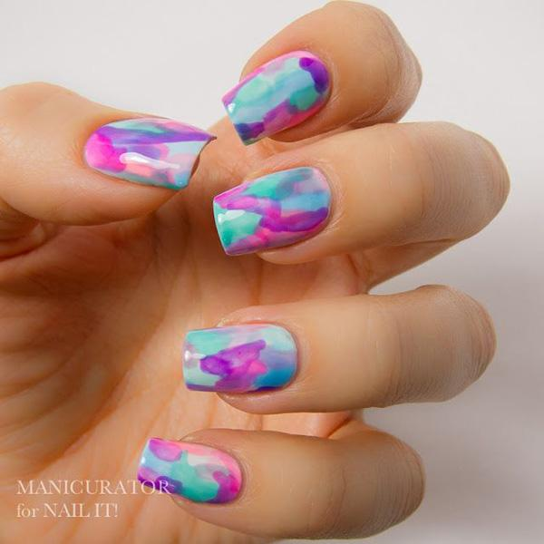 Watercolor Water Marble Nail Art-12