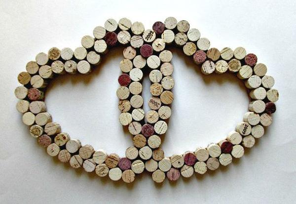 Wine Cork Heart Wall Decor - Two Intertwined Hearts - Wedding, Anniversary