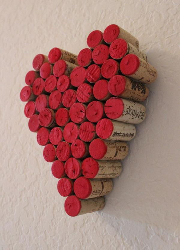 Wine Cork Red Heart Wall Hanging