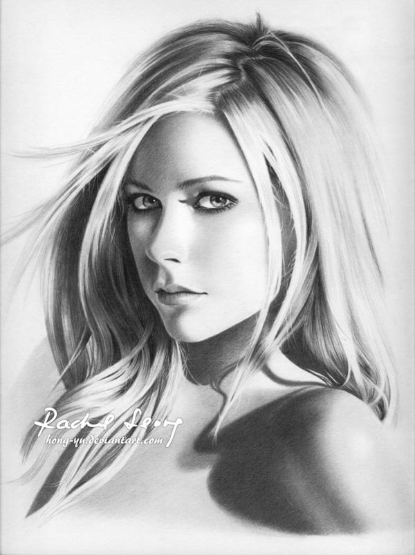 avril lavigne 15 by hong yu - Pencil Drawings by Leong Hong Yu  <3 <3