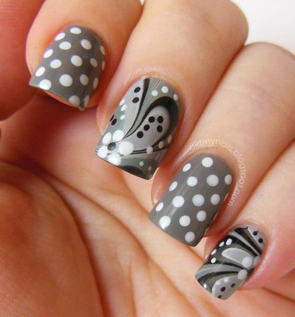 polka dots and grey white water marble nails