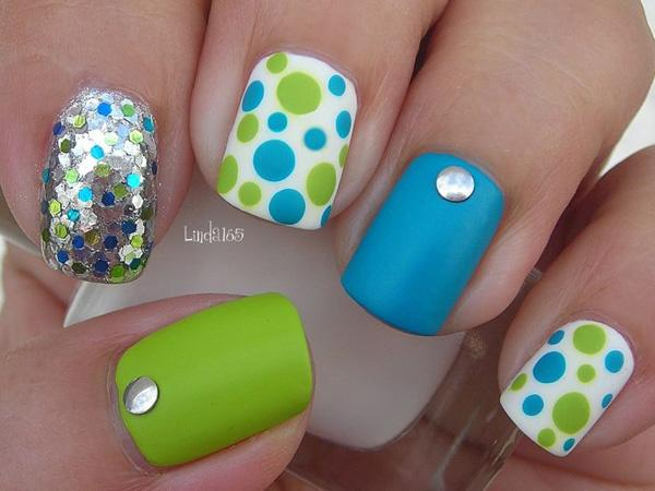 blue and green and the polka dots