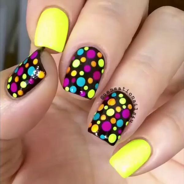 colorful dot nail