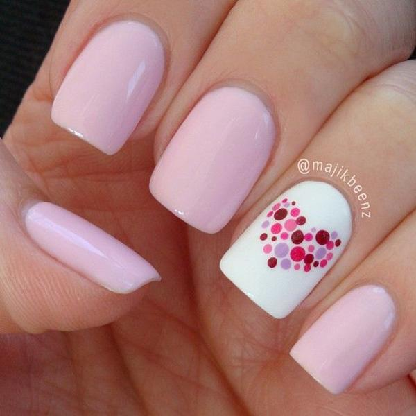 dotted heart nail